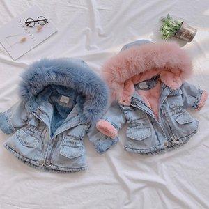 OLEKID 2019 Winter Baby Girl Denim Jacket Plus Velvet Real Fur Подогреть малышей девушки Верхняя одежда пальто 1-4 года Дети младенца Девочка Parka T190919