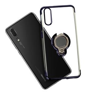 Clear Case TPU transparent souple en silicone flexible Anneau Support à Téléphone Housse Pour Huawei Maté 20 P20 Lite Pro Samsung S10 note10