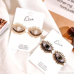 Kadınlar Kızlar Moda Kişilik Yapay elmas Akrilik Femme Moda İnci Kulak Takı için Yaratıcı Tasarım Vintage Nazar Şekli saplama Küpe