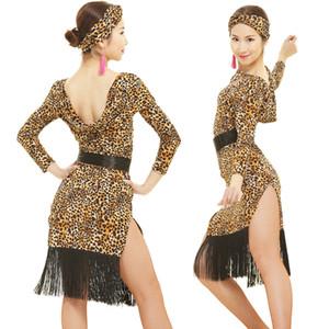 Latin dans elbise yetişkin püskül Latin dans Rumba Samba giyim leopar baskı elbiseler kadınlarla womens