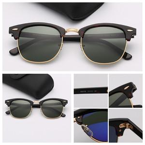 Herren Sonnenbrille Mode der Frauen Sonnenbrille heiße Verkaufs-Sonne Halbrahmen Des Lunettes de Soleil für Männer mit Ledertasche Kleinpaket-Brille