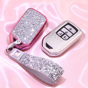 Блестящая Diamond Crystal Car Key Cover Case Сеть для Hrv Civic 2017 Accord 2003-2007 CR-V Freed Pilot Auto Shell аксессуары