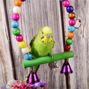 Doğal Ahşap Papağanlar Renkli Boncuk Kuş Evcil yq01051 için Bells Oyuncak Tünek Asma Salıncak Cage Malzemeleri Oyuncak Kuşlar Salıncak