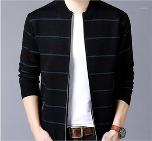 Cardigan Sweaters Stand Collar Striped Print Sweatshirts Zipper Pocket Contrast Color Long Sleeve Sweaters Mens Knitted