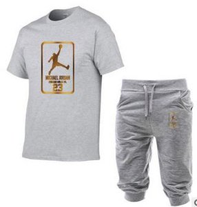 women 5 cent Beam foot trousers+T-shirt Men Sets Striped Tracksuits T-Shirt+Shorts Outfits Gym Fitness Sportswear high quality suits FS#039