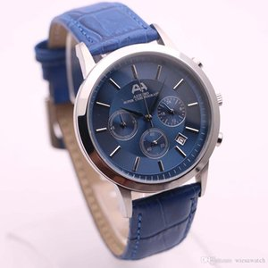 AEHIBO Favourable Price Mens Watches Index Hour Markers Quartz Battery Super Chronograph Watch 43MM Blue Dial Date Window Wristwatches