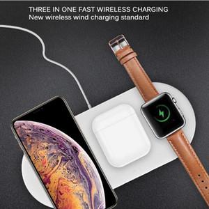 3 em 1 carregador estação 10W sem fio Suporte Pad carregamento Base Dock para iPhone para a Apple relógio para Airpods de carregamento sem fio Mat