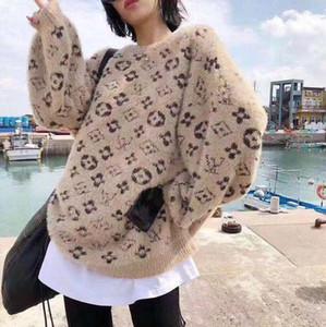 디자인 여성 드레스 따뜻한 부드러운 스웨터 랑우리는 게으른 느슨한 뜨개질 스웨터 유행 작은 자카드 긴 소매 스웨터 무료 배송