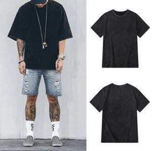Мужская мода Конструктор Tshirts Омывается Проблемная Щитовой Solid Color Сыпучего Tshirt Мода Повседневной мужская одежда Негабаритной