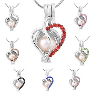 Wholesale Fashion Jewelry Silver Plated Pearl Cage love heart with zircon 8 colors Locket Pendant Findings Cage Essential Oil Diffuser
