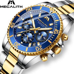 Megalith Luxo Masculino Relógio Sports Chronograph Waterproof Analógico 24 horas Data de relógio de quartzo homens cheios de aço de pulso Relógios Relógio CJ191217
