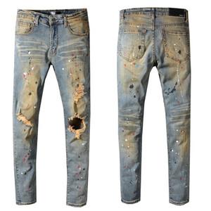 concepteur rue France marée jean hip-hop AMIR couleur de la peinture européenne et américaine Amiri éclaboussé lavé les jeans trou brodé