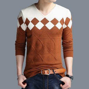 New Cotton Men Autumn Winter Sweater Jersey Jumper Pullover V-neck Knitted Robe Hombre Pull Homme Hiver Sweaters