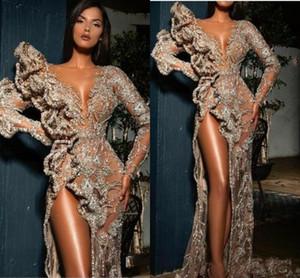 Atractivo ver a través de baile vestidos con mangas largas de volantes apliques de encaje de lado alto de Split vestido de noche de la sirena con lentejuelas del partido Vestidos Vestidos