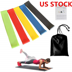 US STOCK, 5pcs / lot Bänder eingestellt Zugseil 5 Stufen Trainingsgerät Stärke Fitness Gummi Loops Bodybuilding Band FY7008