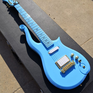 Diamond Series Prince Cloud Sky Blue Guitar Electric Guitar Elder Body, Neck Neck, Amore Symbol Inlay, Gold Truss Rod Cover, Wrap Arround Tarchpiece