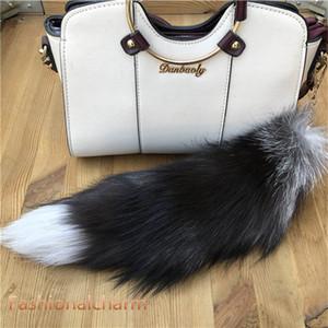 "40cm 16""-Real Genuine Natural Silver Fox Fur Tail Keychians Cosplay Toy Keyring Bag Charm Car Phone Tassels Pendant"