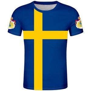 SUECIA camiseta DIY por encargo libre del número SWE camiseta bandera de la nación se Sverige nabo sueco universidad país prendas de vestir de impresión de fotografías