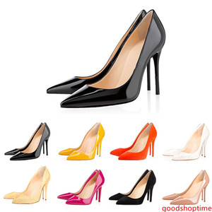 With s high heels women Dress shoes 8cm 10cm 12cm  designer Fashion Nude black Leather Pointed Toes Pumps Brand shoe