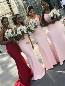 African Mermaid Bridesmaid Dresses 2020 Spaghetti Sweep Train Appliques Garden Country Wedding Guest Gowns Maid of Honor Dress Plus Size