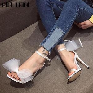 RIBETRINI elegante Shallow alti calza Ins Hot Party dolce estate delle donne nuziale Sandali farfalla nodo Sandali