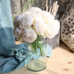 5pc / lote Grande peónia flor artificial seda Bouquet Decoração Casa Branca peónia mostra Flor Falsa Coração Rosa