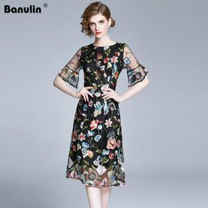 Banulin Modedesigner Runway-Kleid 2020 Sommer-Frauen O-Ansatz Kurzschluss-Hülsen Herrliche Black Mesh Blumenstickerei Kleid