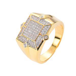 Anello di zircone cubico di materiale di ottone di alta qualità in ottone anello anello di hip hop per rapper Hiphop gioielli per gli uomini semplici gioielli stile all'ingrosso