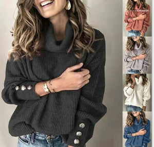 Sleeve Turtle Neck Womens Pullover Sweaters Loose Females Casual Sweaters Fit Solid Color Womens Designer Sweaters Long