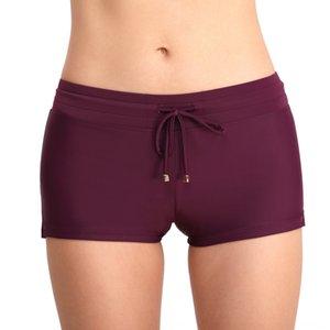 color sólido conservador para mujeres de gran tamaño troncos de natación sencilla anti-luz troncos de natación de los pantalones cortos del boxeador muy visibles para las mujeres