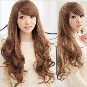 ePacket free shipping >STOCK Lady Long Hair Curly Black Wavy Wig Cosplay Heat Resistant Party Wig