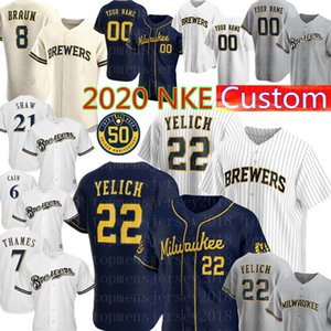 New Jersey 22 Christian Yelich personnalisé Baseball Jersey Hommes 2020 Ryan Braun Robin Yount Lorenzo Cain Eric Thames Travis Shaw Jonathan Lucroy