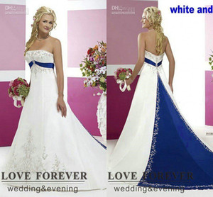Royal Blue And White Wedding Dresses 2021 Vintage Strapless Lace Embroidery Sequins Sweep Train Gothic Country Bride Gowns