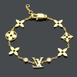 de luxo designer de jóias mulheres pulseira quatro folha charme flor de diamante prata pulseiras em ouro rosa com jóias acessórios de moda logotipo