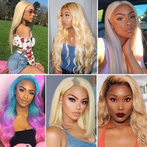 Blond Farbe Lange Körper-Welle Glueless Hitzebeständige Haar Frauen Make-up Hochzeit Synthetic Lace Front Perücken für weiße Frauen