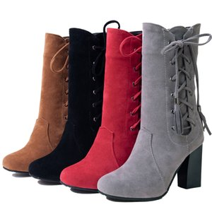 fashion large size 32-45 High Heel Boots Women Shoes Woman Zip Up Shoelace Winter Boots fringe Footwear Party Bottine 236
