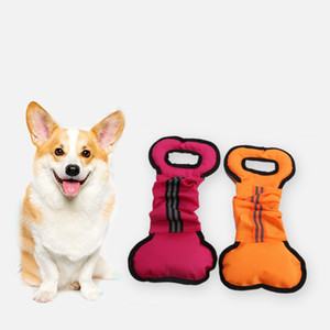 Pet Dog Toys Chewers Interativo Puxar Chew Toy Forma de Osso Lona Treinamento Durável Brinquedos New Arrival 4 5lca L1