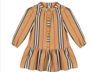 cotone nuovo autunno delle ragazze del modello a maniche lunghe risvolto vestire piccoli bambini delle scuole medie gonna principessa straniera stile britannico camicia stile
