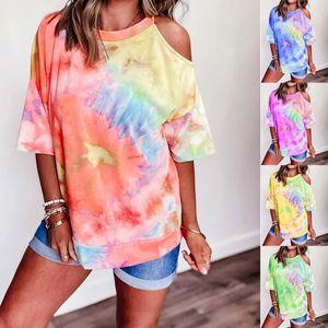 Kravat Boya Bayan Tasarımcısı Tişörtleri Moda Çiy Omuz Kısa Kollu Bayan Tees Rahat Mulit Stilleri Giyim