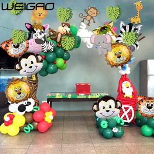 WEIGAO Jungle Party Happy Birthday Banner Garland Número Animal Globos Digitales Primer Bebé Niño Fiesta de Cumpleaños Decoración Niños