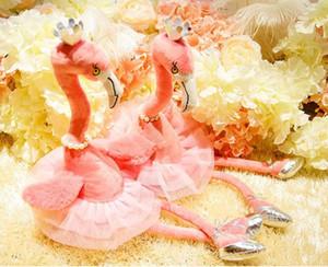 Collar de perlas de la corona del flamenco juguetes eléctricos de la felpa de baile zapatos de diseño 3D de la felpa de algodón PP relleno destella de la música de la batería de los bebés de regalo