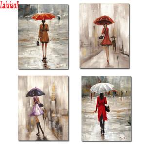 Astratto City Street Landscape Umbrella Girl 5d pittura diamante fai da te piazza piena rotonda diamante ricamo strass 4 pezzi arredamento