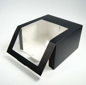 Papier noir se pliant de chapeaux d'emballage de boîte de cadeau de partie de boîtes avec la fenêtre de PVC