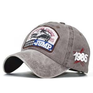 2020Fashion European and American Baseball Cap Embroidered Letters JUMP1985 Denim Distressed Washed Cap
