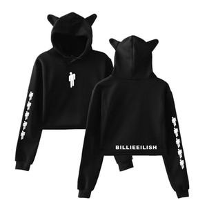 Певица Billie Eilish Cat Streetwear толстовки Толстовка Повседневная Женщины с капюшоном Пуловер с длинным рукавом Спортивные Hip Hop Толстовка Топ MX200508 для одежды
