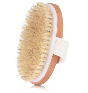 Hot Bathroom Dry Skin Body Brush Soft Natural Bristle Shower Brushes Wooden Bath Shower Bristle Brush SPA Body Brushes Without Handle