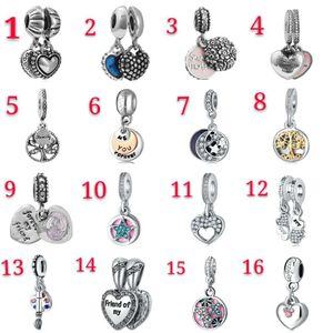 Seios para pulseiras 50 pcs tema misturado Dangle charme grânulos pingente de prata esmalte coração cristal europeu encantos acessórios diy jóias