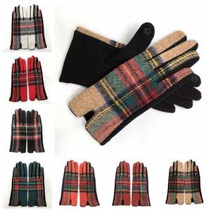 Guantes cálidos de moda a cuadros de lana para guantes de ciclismo para mujer Guantes cálidos a cuadros de otoño invierno 7 estilos RRA2009