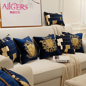 Avigers 자수 벨벳 쿠션 커버 럭셔리 유럽 베개 커버 베개 케이스 기하학 홈 장식 소파 의자 베개를 던져