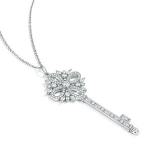 Collar feliz Llave de la Puerta de Victoria, 925 joyería de plata CZ Zircon señoras de la moda collar de cristal suéter cadena de regalo de las mujeres de la cadena 45cm